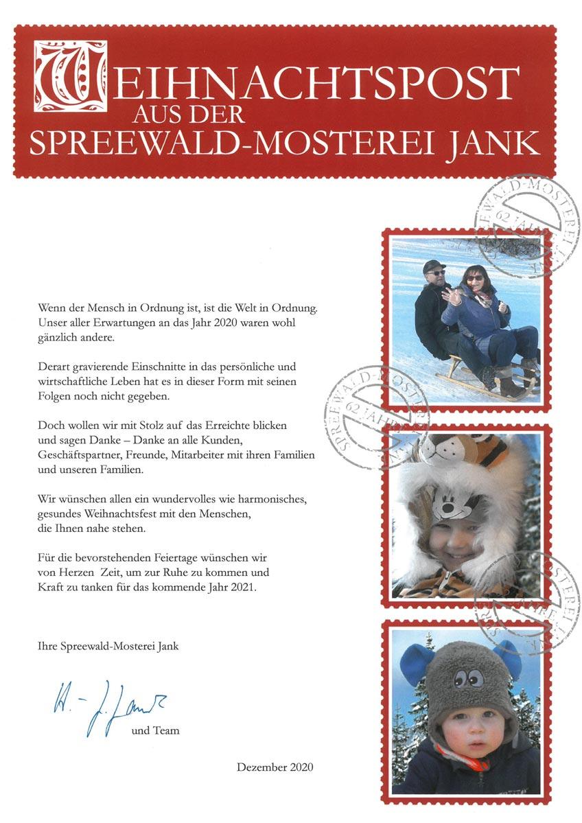 Weihnachtspost aus der Spreewald-Mosterei Jank